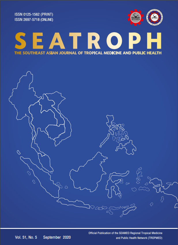 View Vol. 51 No. 5 (2020): THE SOUTHEAST ASIAN JOURNAL OF TROPICAL MEDICINE AND PUBLIC HEALTH
